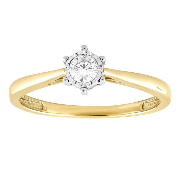 Ring with 0.15ct Diamond in 9K Yellow Gold