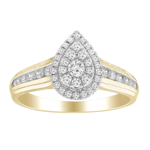Pear Ring with 0.5ct Diamond in 9K Yellow Gold