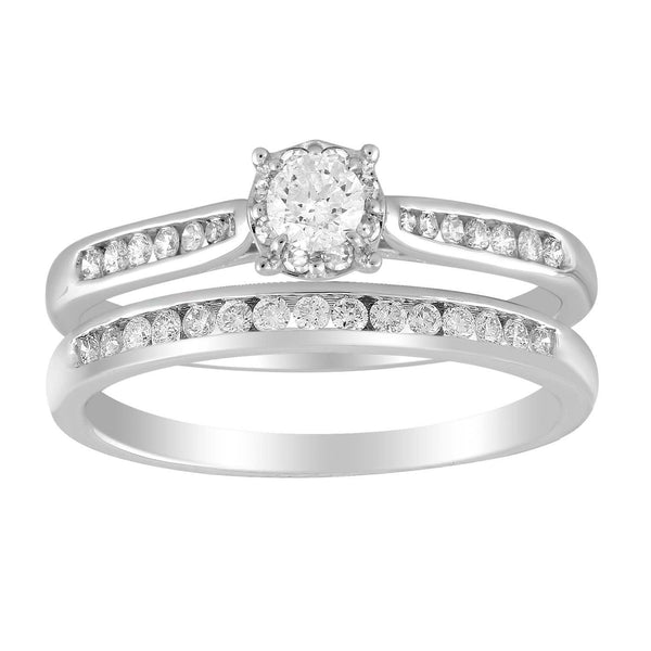 Solitaire Ring Set with 0.5ct Diamond in 9K White Gold