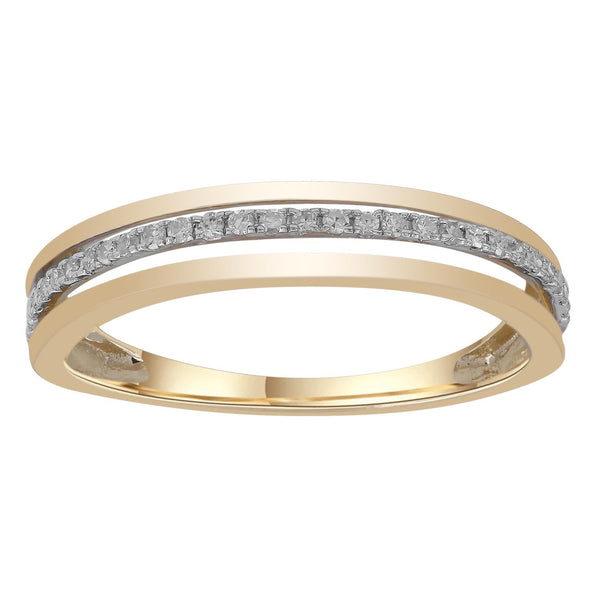 Band Ring with 0.1ct Diamonds in 9K Yellow Gold