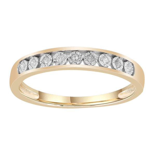 Band Ring with 0.05ct Diamonds in 9K Yellow Gold