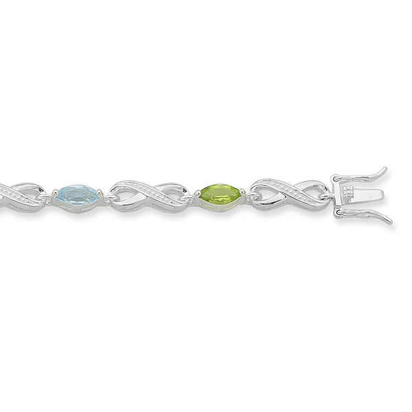 Sterling Silver Multi Coloured Stone Bracelet