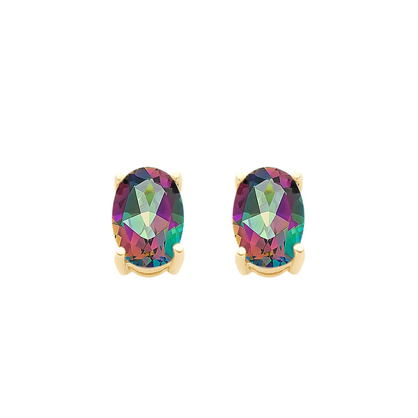 9ct Gold Mystic Topaz Stud Earrings