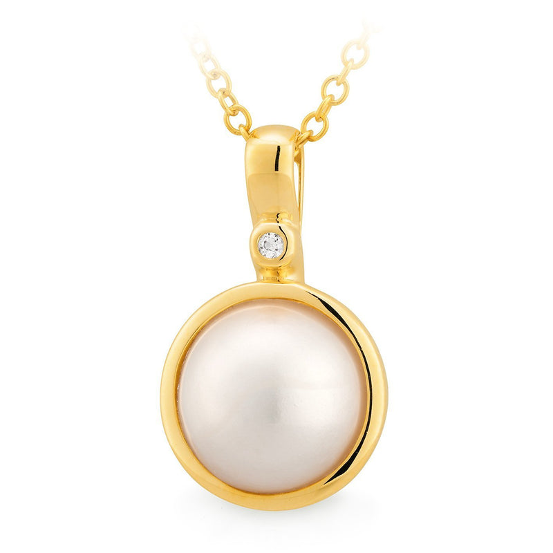 Mabe Pearl & Diamond Bezel Set Pendant in 9ct Yellow Gold