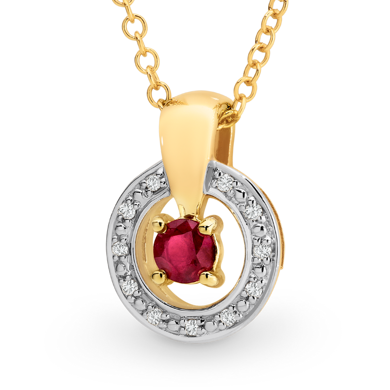 Ruby & Diamond Claw/Bead Set Pendant in 9ct Yellow Gold