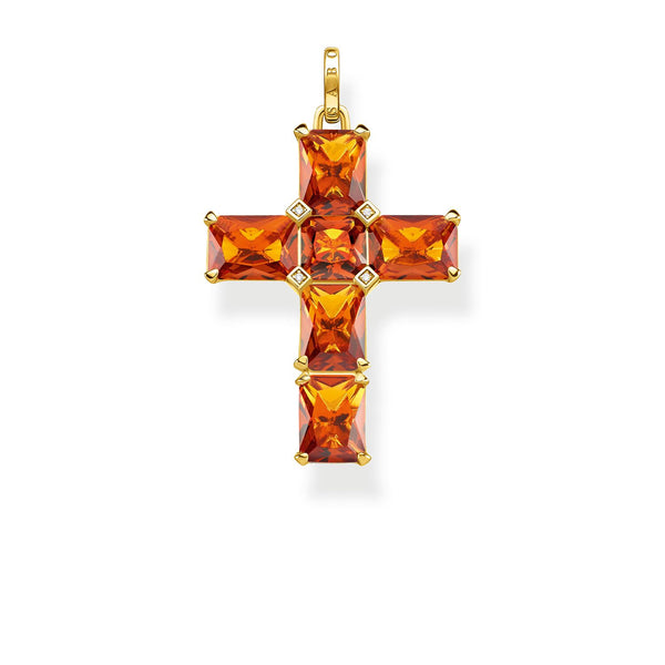 Thomas Sabo Pendant Cross Orange Stones