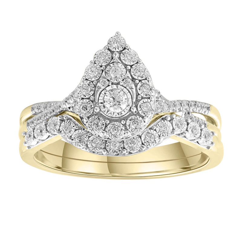 Engagement & Wedding Ring Set with 0.25ct Diamonds in 9K Yellow Gold