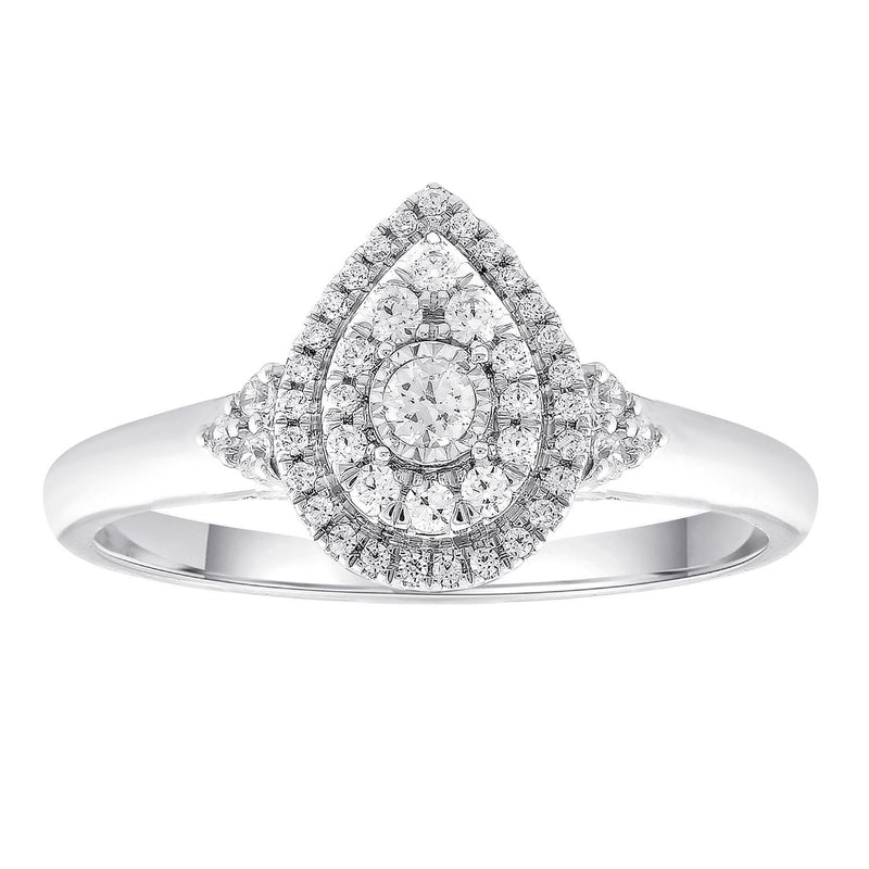 Pear Ring with 0.33ct Diamonds in 9K White Gold