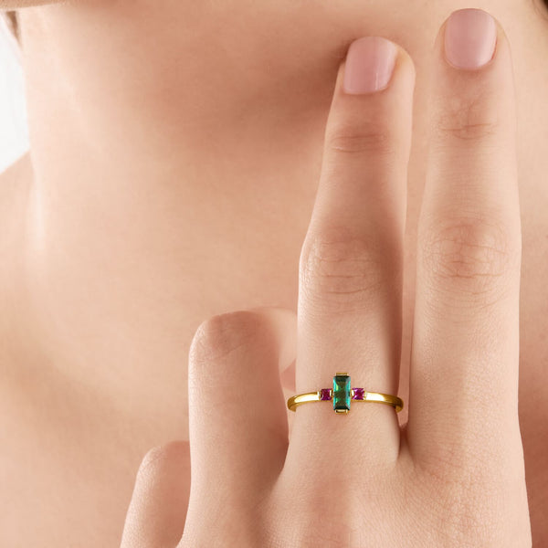 Thomas Sabo Ring Green Stone Gold