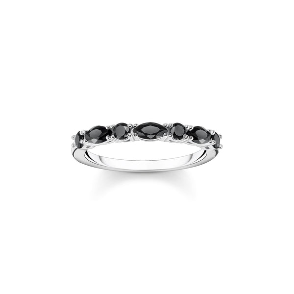 Thomas Sabo Ring Black Stones Silver