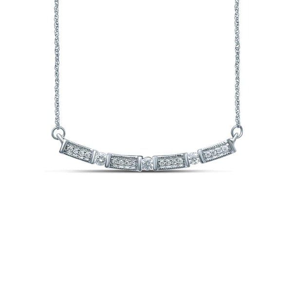 9Ct White Gold 0.15Ct Diamond Necklet