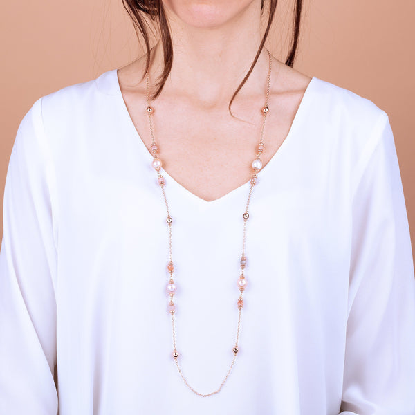 Bronzallure Peach Moonstone And Ming Pearls Necklace