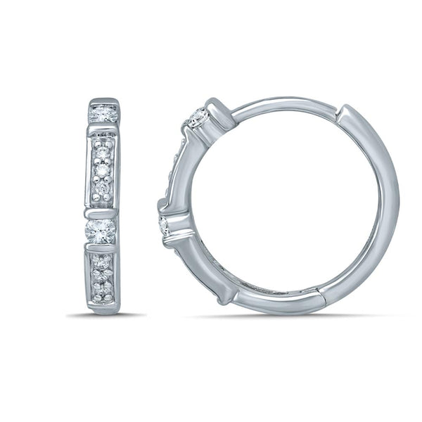 9Ct White Gold 0.15Ct Diamond Huggie Earrings