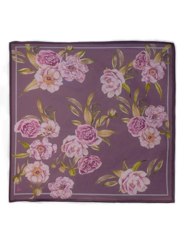 Load image into Gallery viewer, Peony Plum Handkerchief