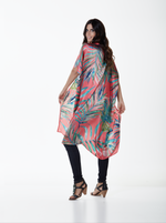 The Coral Palm Leaves Kimono