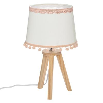 DRIEPOOTLAMP  HOUT + POMPONS