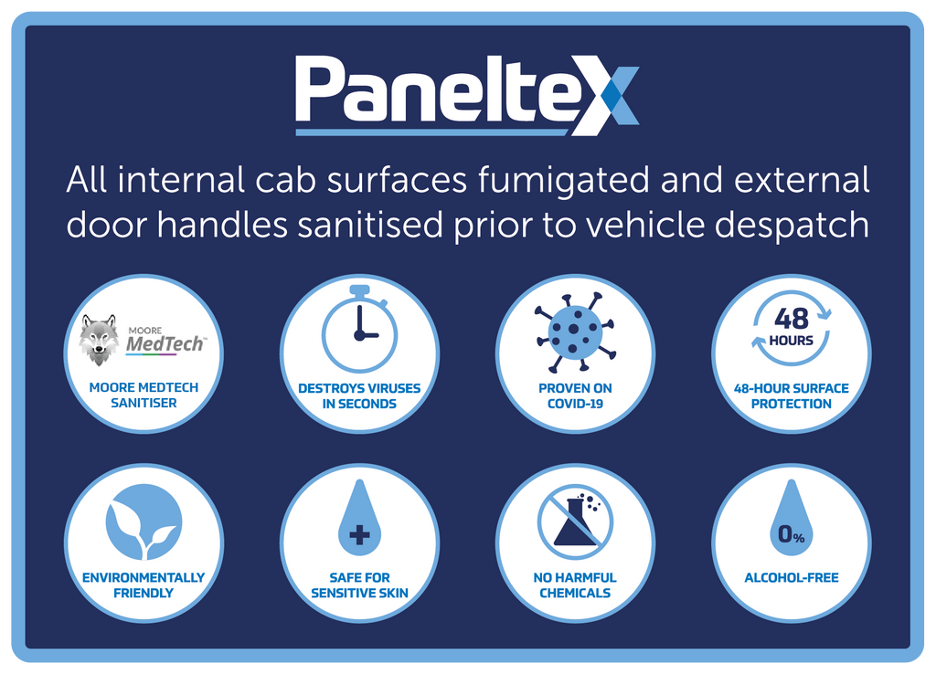 PanelTex label showing their vehicles are sanitised using Moore MedTech alcohol-free sanitiser