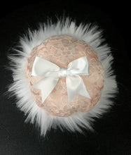 "Load image into Gallery viewer, Large dusting powder puff Peach lace 5"" - MerryBath.com"