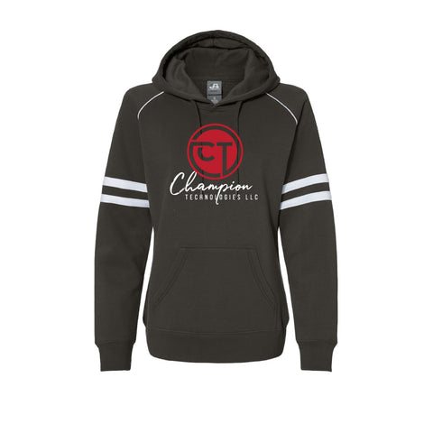CT Varsity Fleece Piped Hooded Sweatshirt - Black - Womens