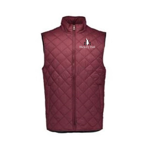 Hickory Hall Polo Club - Vintage Diamond Quilted Vest - Red Mahogany- Mens/Unisex