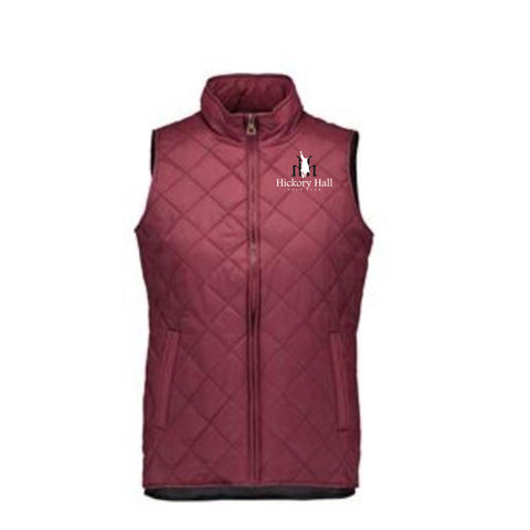 Hickory Hall Polo Club - Vintage Diamond Quilted Vest - Red Mahogany - Womens