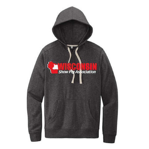 WI Show Pig Assn Contrast String Hooded Sweatshirt - Adult, Unisex - Charcoal Heather