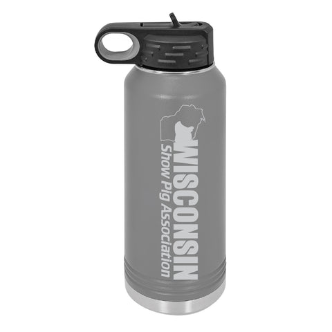WI Show Pig Assn 32oz Waterbottle - Gray