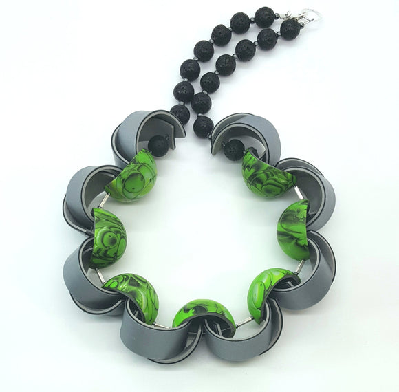 Spiral with Half-Hollow Beads Necklace