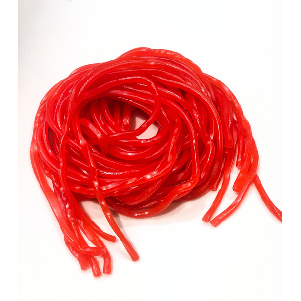 pile of strawberry licorice laces