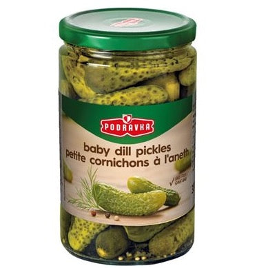 jar of baby dill pickles