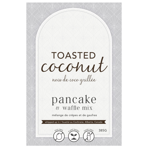 package label for toasted coconut pancake and waffle mix