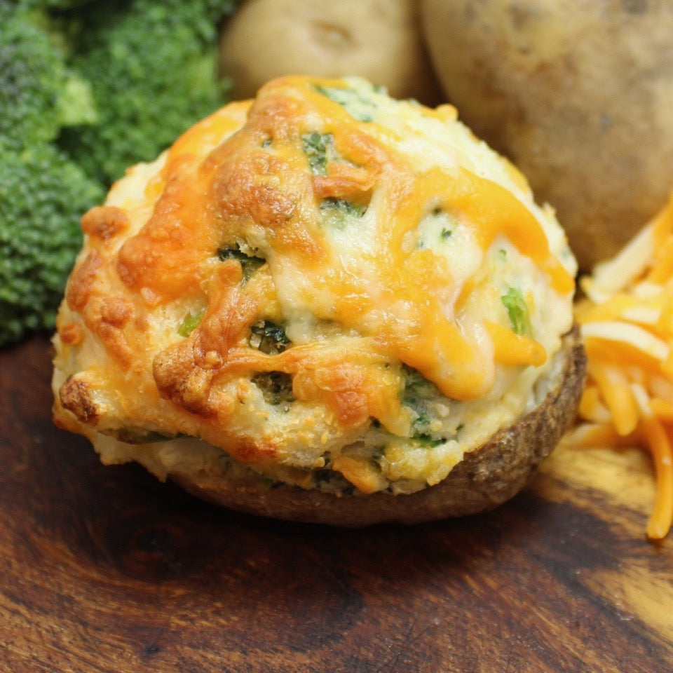single cooked classic stuffed potato