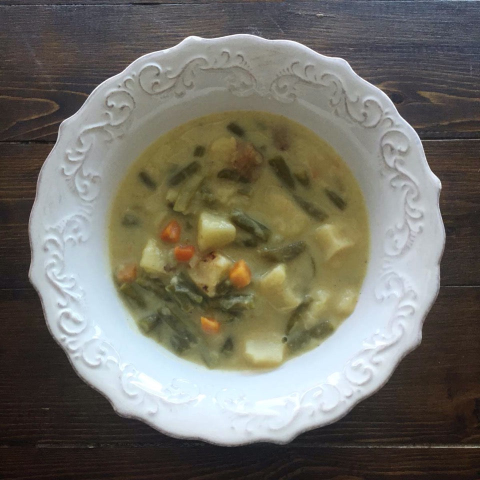 bowl of cooked lemon turkey dill soup