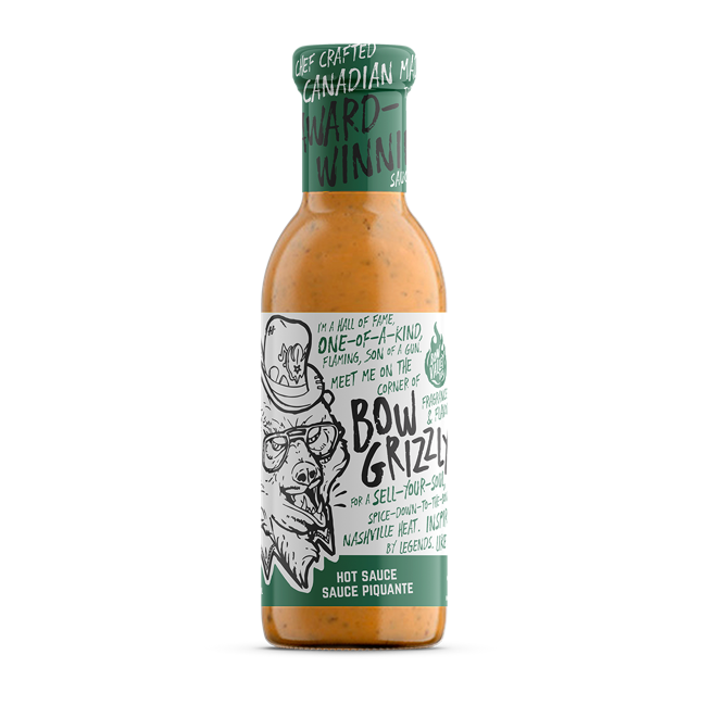 bottle of bow grizzly hot sauce