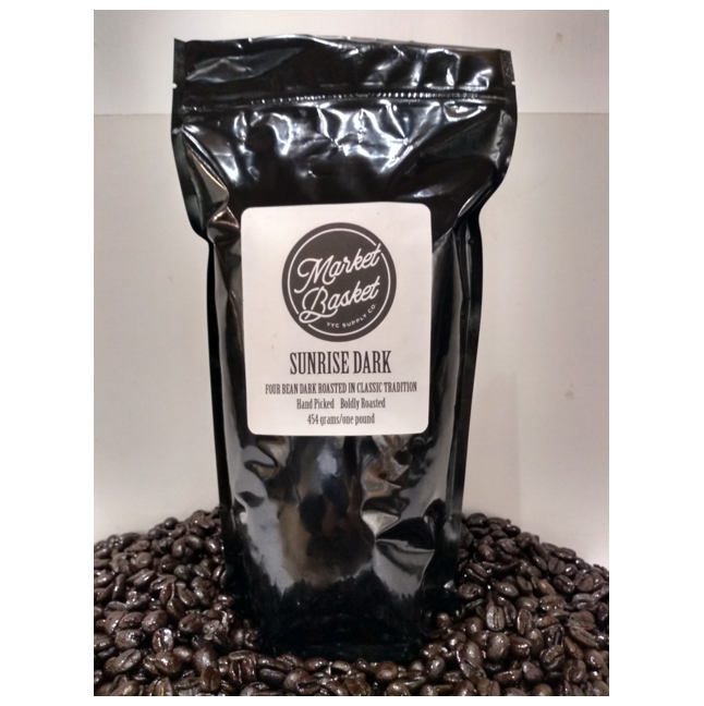 bag of sunrise dark coffee beans