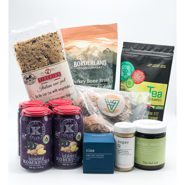 health hero box including Sicilian cous cous with vegetables, 4 pack kombucha, rise potion powder, super q shaker, magic matcha, veggie smash burgers, be fit tea and bone broth