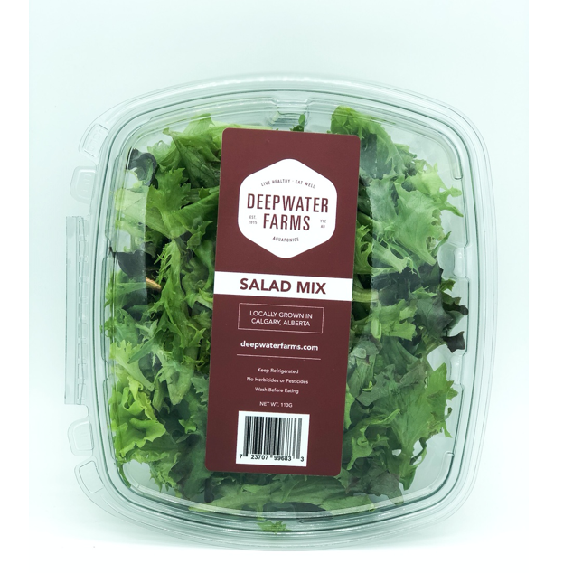 clear clamshell of deepwater farms salad mix