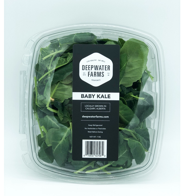 clear clamshell of deepwater farms baby kale