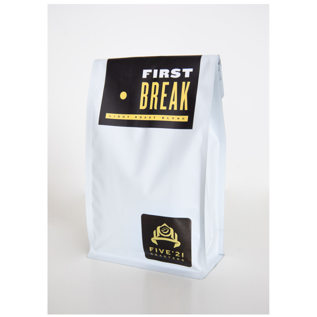 bag of first break light roast coffee beans from Five21 roasters