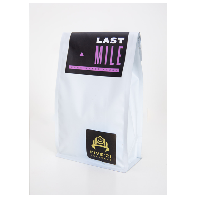 bag of last mile dark roast coffee beans from Five21 roasters