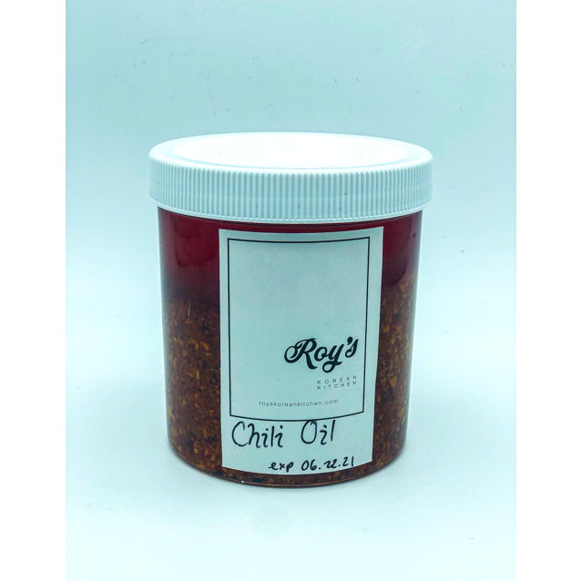 jar of chili oil from Roys Korean kitchen