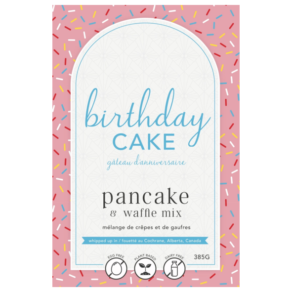 package label for pink birthday cake pancake mix