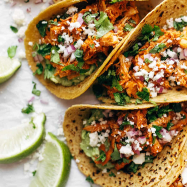 cooked chicken tacos with queso fresco