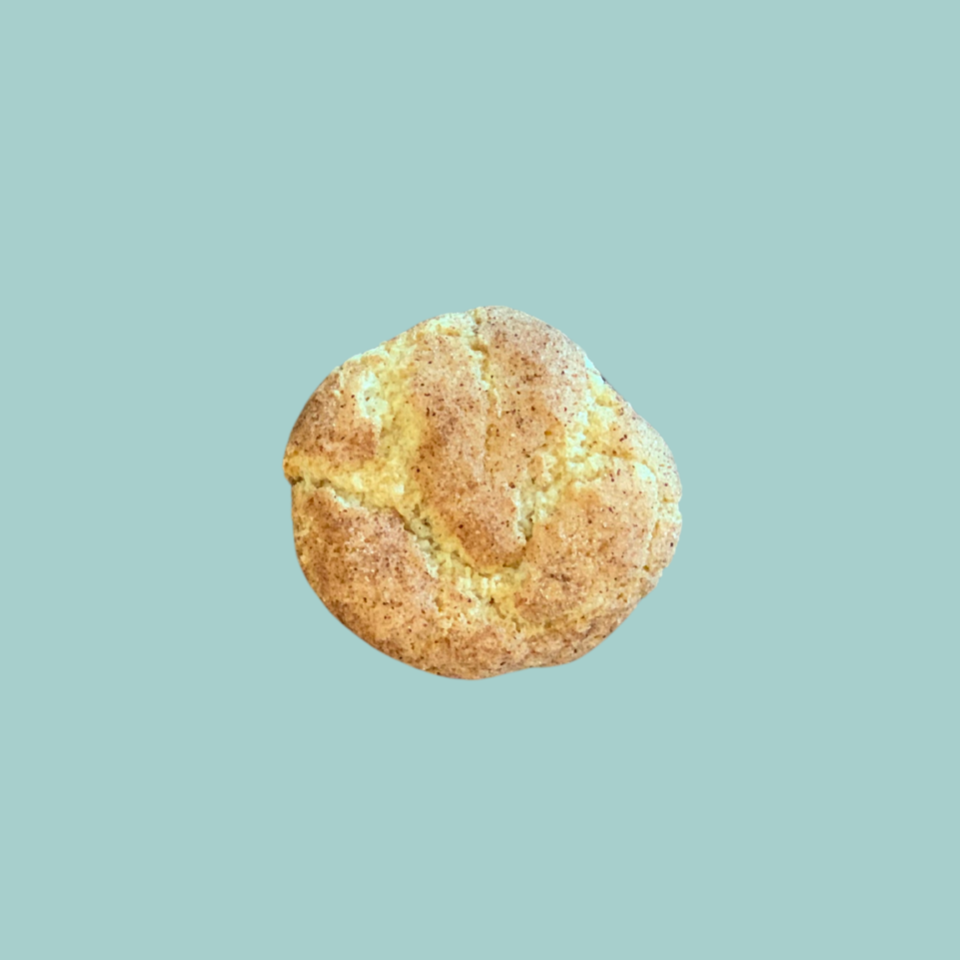 single baked gluten free snickerdoodle cookie