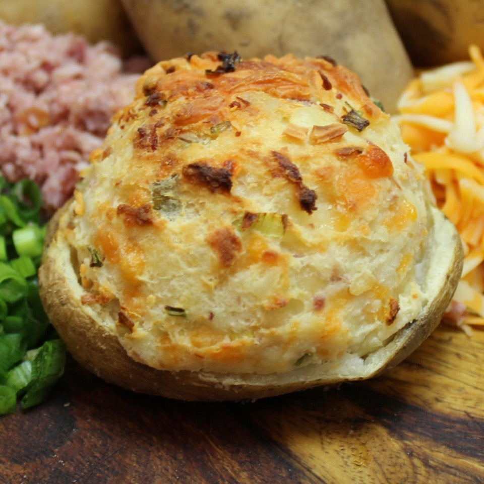 single cooked traditional stuffed potato