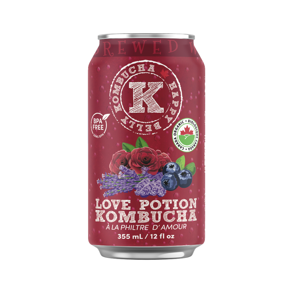 red can of love potion kombucha