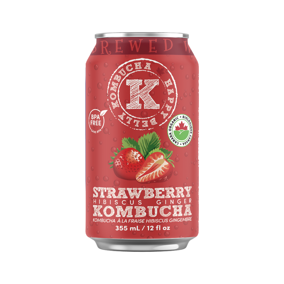 red can of strawberry hibiscus kombucha