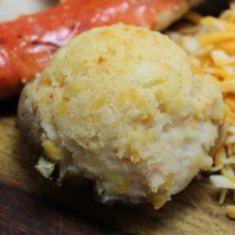 single cooked crab stuffed potato