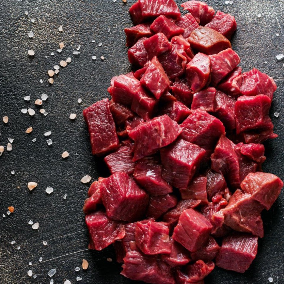 uncooked beef stew meat
