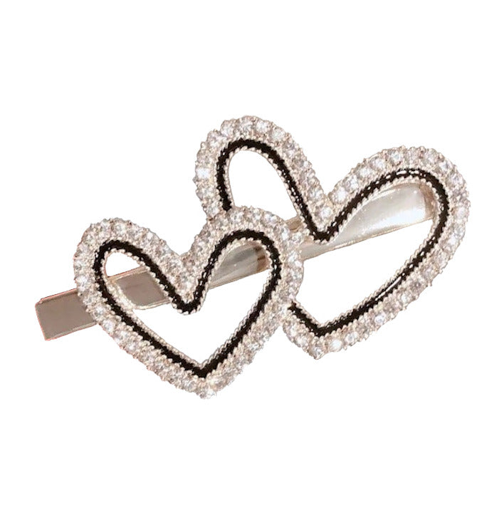 Barrette double coeur strass